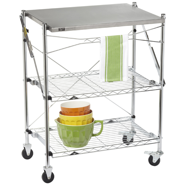 InterMetro® Folding Chef's Cart Chrome/Stainless