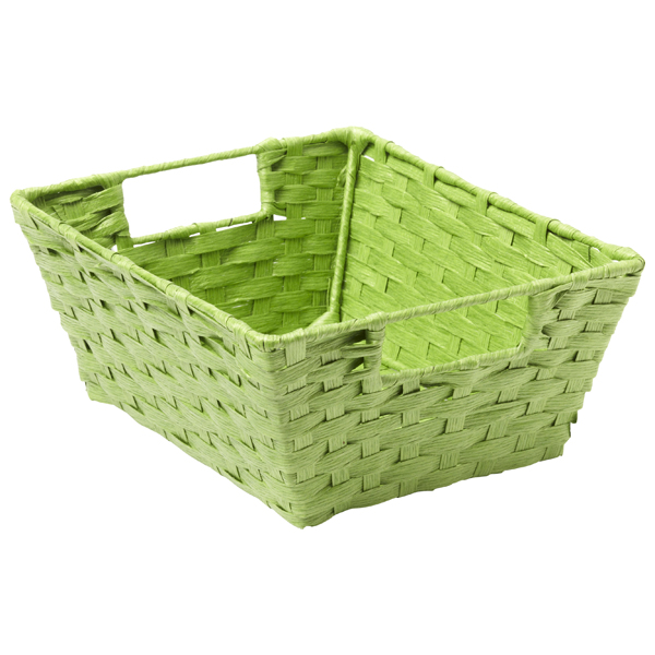 Paper Rope Bin with Handles Lime