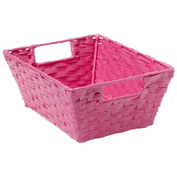 Paper Rope Bin with Handles Pink