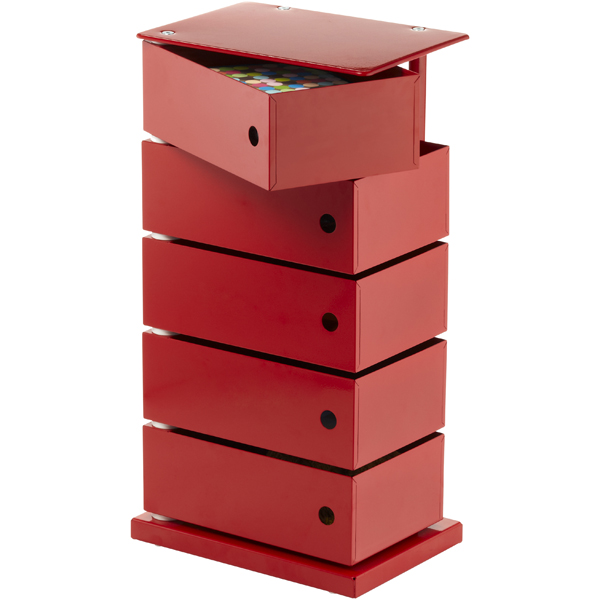 5-Bin Storage Tower Red