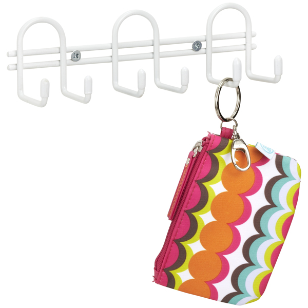 6-Hook Utility Rack White