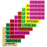 Color-Coded Apartment Moving Labels Pkg/60