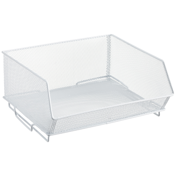 Wide Mesh Stacking Bin White