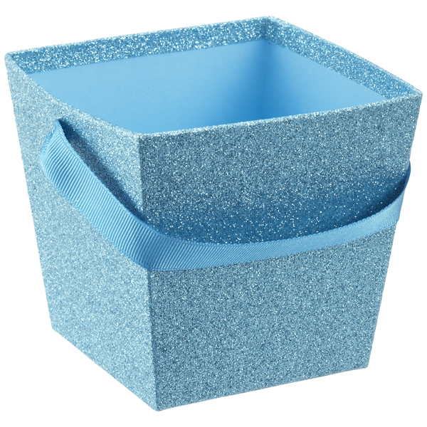Small Square Glitter Pail Blue