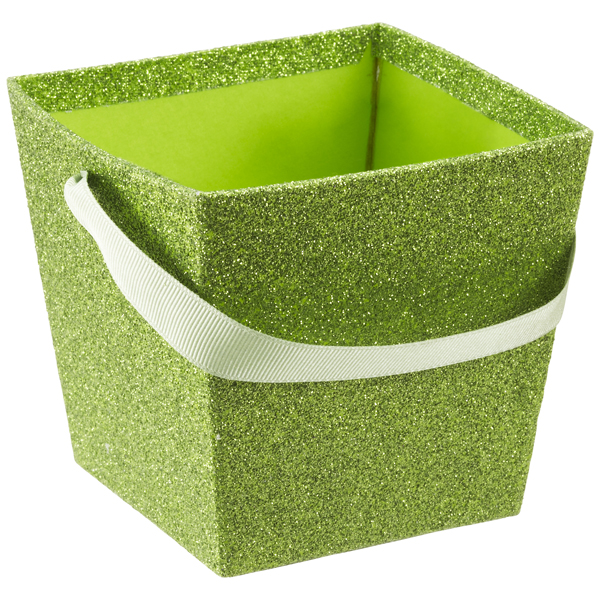 Small Square Glitter Pail Lime
