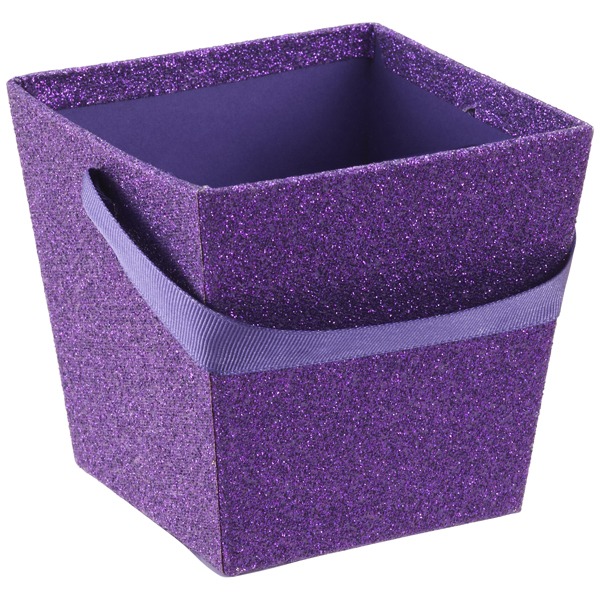 Small Square Glitter Pail Purple