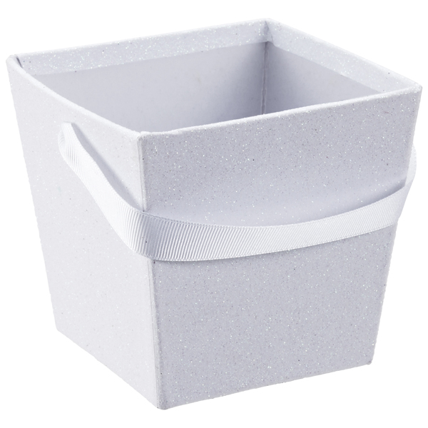 Small Square Glitter Pail White