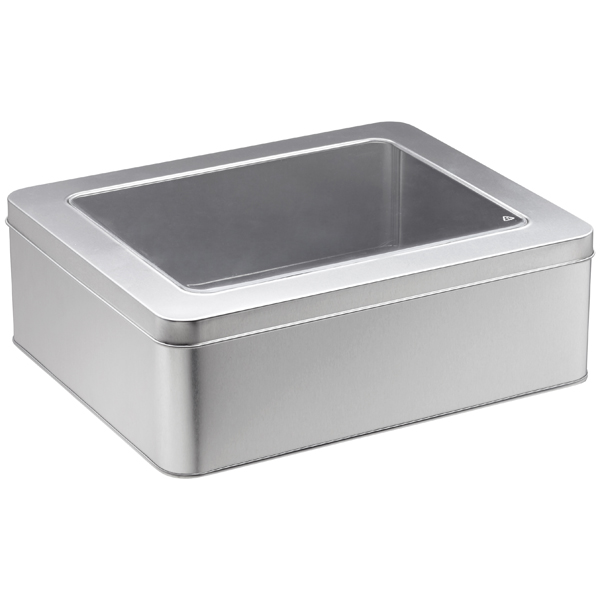 X-Large Rectangular Tin with Window Silver