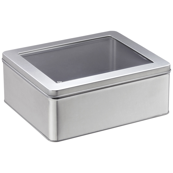 Large Rectangular Tin with Window Silver