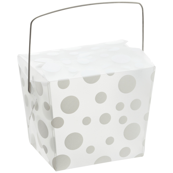 8 oz. Take Out Carton White Polka Dot