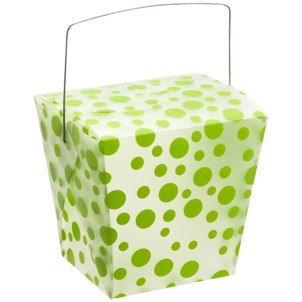 32 oz. Take Out Carton Lime Polka Dot