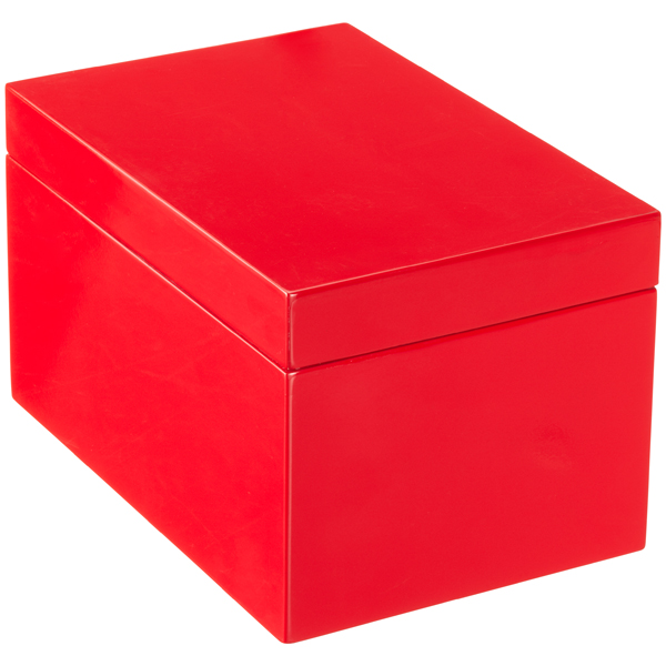 Large Lacquered Rectangular Box Red