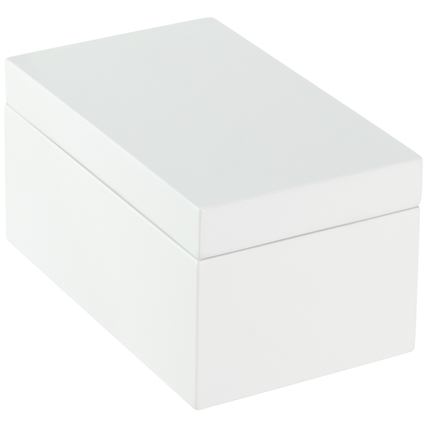 Beau ... Medium Lacquered Rectangular Box White ...