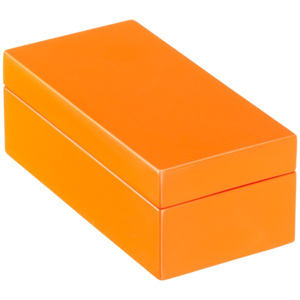 orange lacquered storage boxes the container store. Black Bedroom Furniture Sets. Home Design Ideas