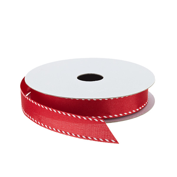 Candy Cane Edge Woven Ribbon Red
