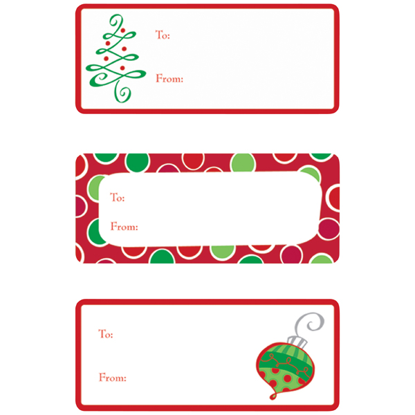 Gift Label Holiday Dots & Trees Pkg/36