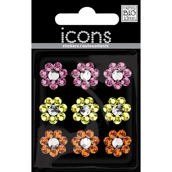 Sm. Flower Rhinestone Stickers Multi Pkg/9