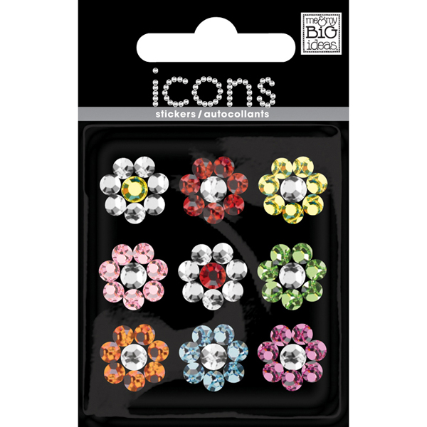 Flower Rhinestone Stickers Multi Pkg/9
