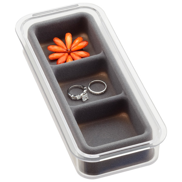 3-Section Mini Stacking Tray Grey