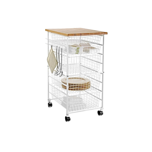 White elfa Kitchen Cart
