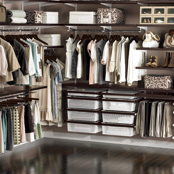 elfa decor Walk-In Closet Walnut & White