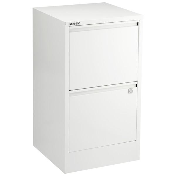 Bisley White 2 Amp 3 Drawer Locking Filing Cabinets The