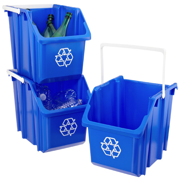 Blue 6 gal. Stackable Recycle Bin with White Handle | The ...