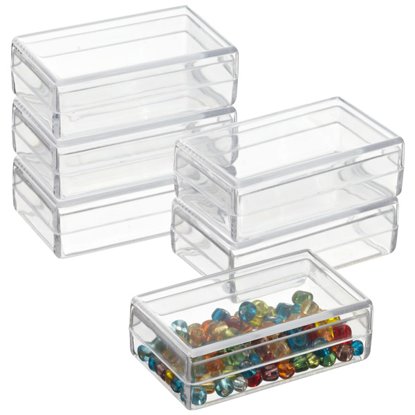 Small Rectangle Clear Box Beads Jewelry Storage Mini Tool Container Case 12 Pcs