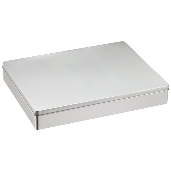 Silver Rectangular Hinge-Lid Tin