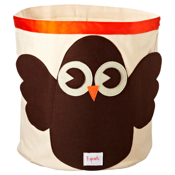Owl Canvas Bin Brown/Orange