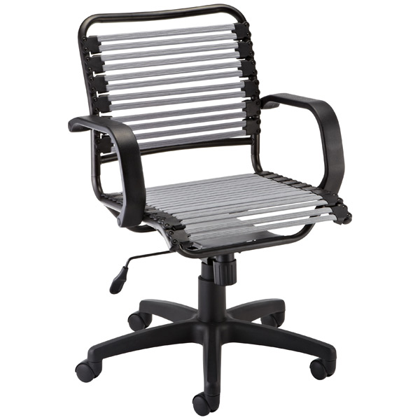 Flat Bungee Office Chair w/ Arms Silver