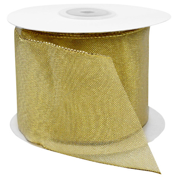 Sheer Metallic Wired Ribbon Gold