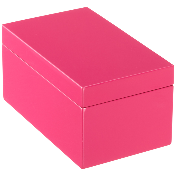 Medium Lacquered Rectangular Box Fuchsia