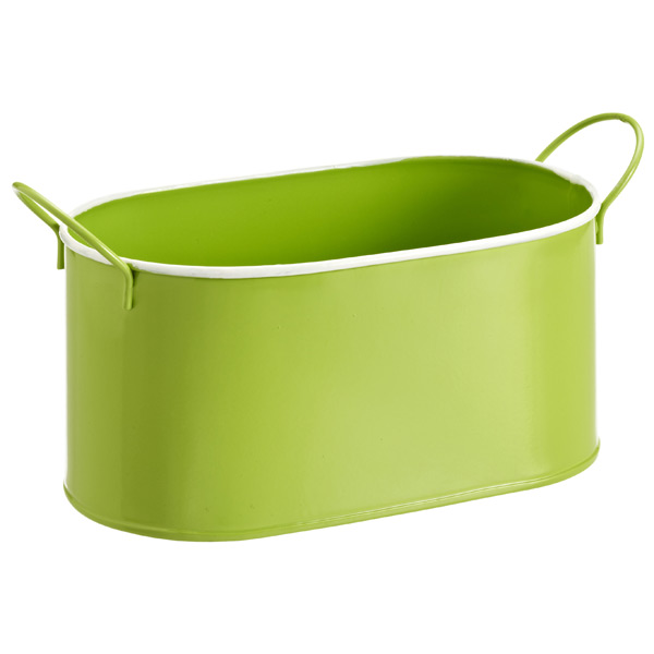 Oval Metal Bin Green