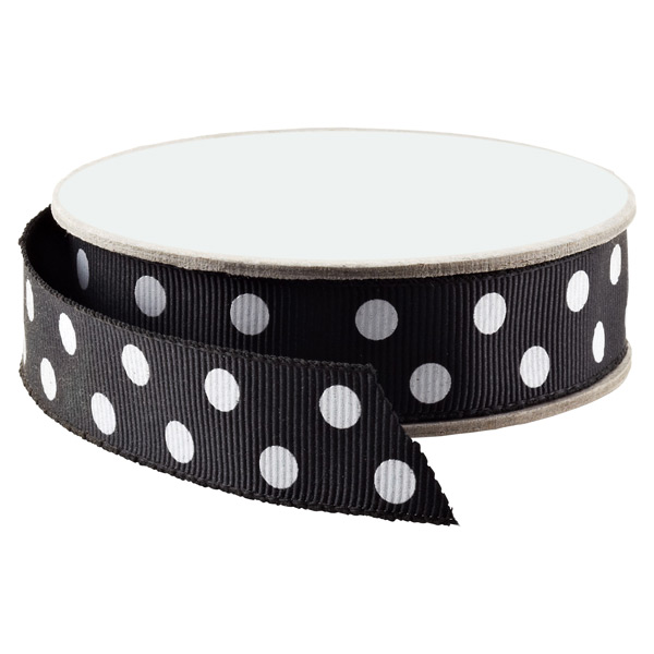 Polka Dot Grosgrain Ribbon Black & White