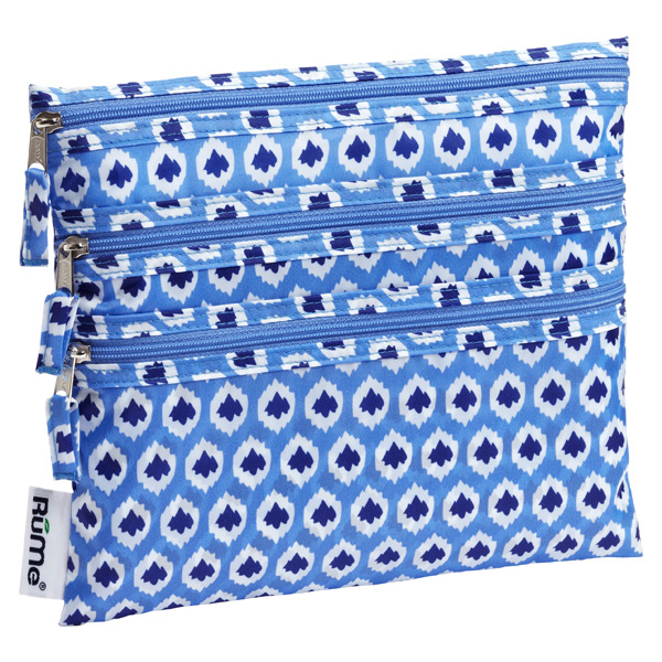 Baggie All Zippered Pouch Blue Ikat