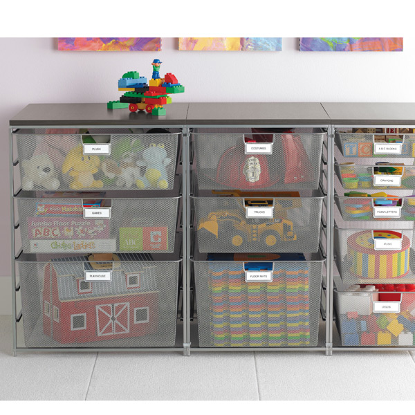 elfa Mesh Drawer Units Platinum & Driftwood