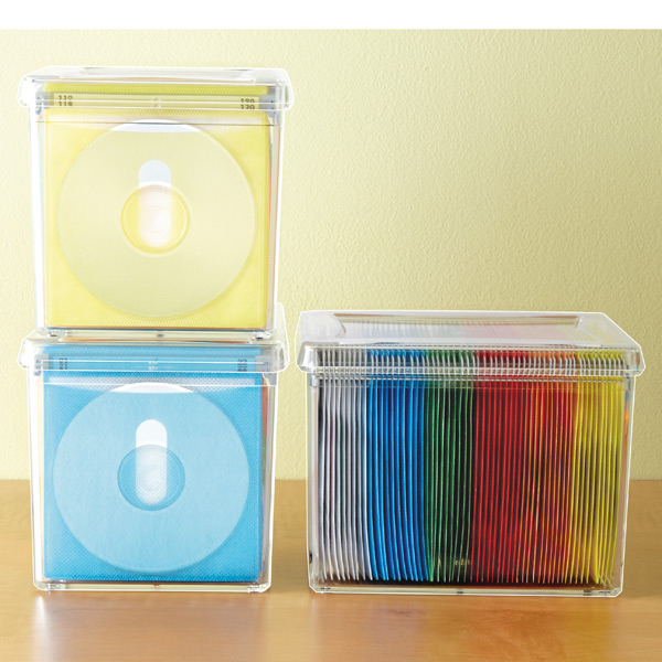 120 disc rainbow acrylic storage box the container store. Black Bedroom Furniture Sets. Home Design Ideas