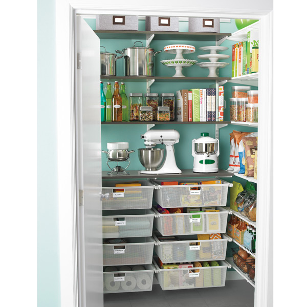 elfa Walk-In Pantry Driftwood & White