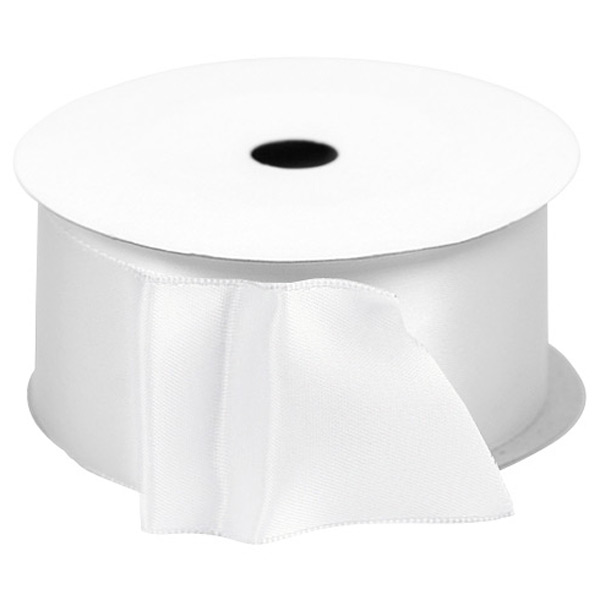 Single-Faced Satin Wired Ribbon White