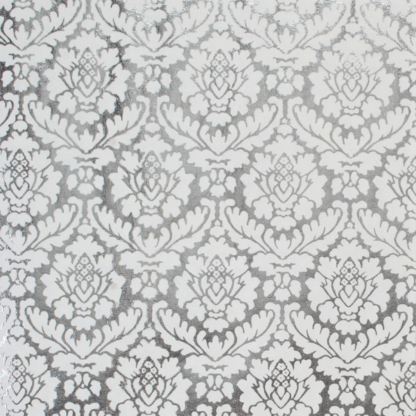 Recycled Wrap Sheets Damask Foil Silver Pkg/2