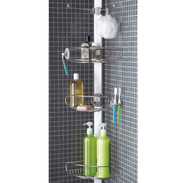 tension pole shower caddy simplehuman stainless steel tension pole rh containerstore com Tension Pole Shower Corner Caddy Tension Pole Shower Caddy