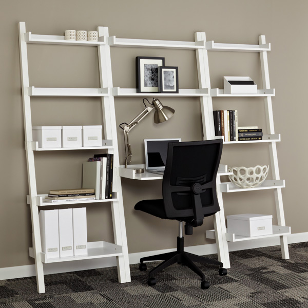 Linea Leaning Desk Bookcases White