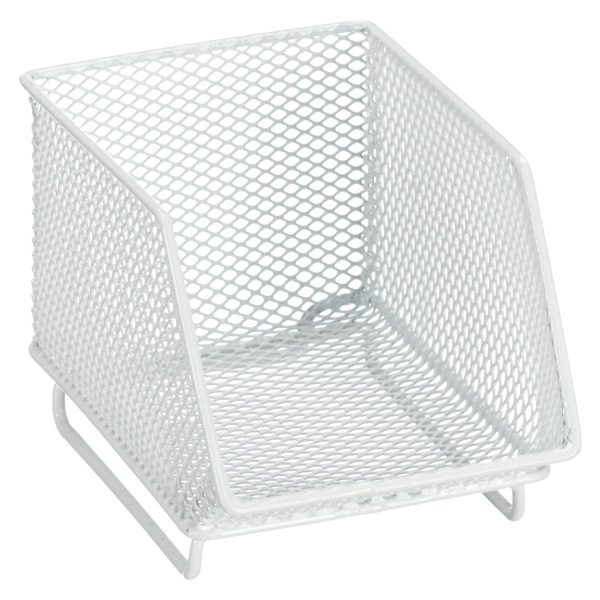 Mini Mesh Stacking Bin White