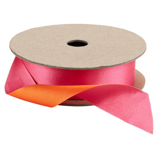 Double Satin Ribbon Fuchsia & Orange