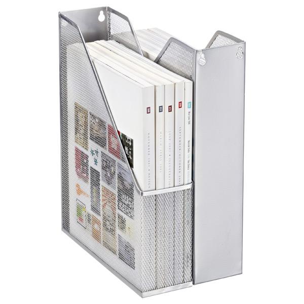 Wire Mesh Magazine Holder Silver Mesh Magazine Holder The Container Store 1