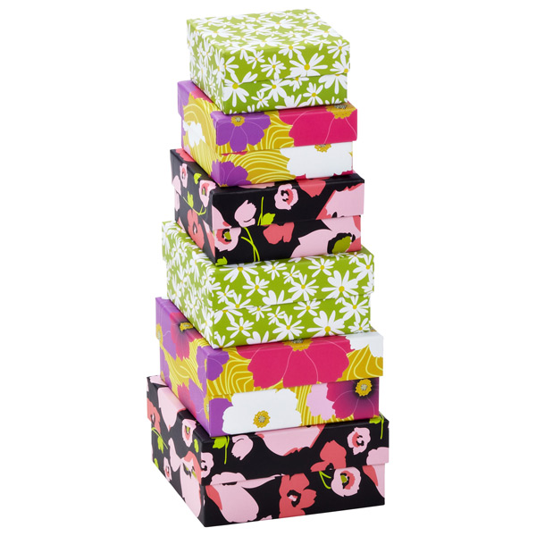 Floral Nested Boxes Set of 6