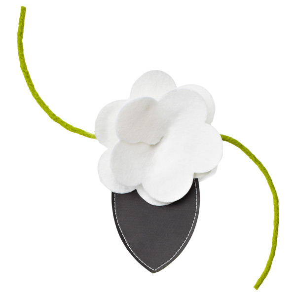 Felt Flower Bottle Tie-On White
