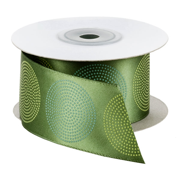Green Roundabout Single-Faced Satin Ribbon