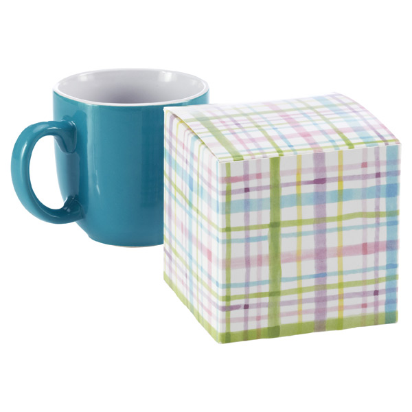 Cube Gift Box Watercolor Plaid